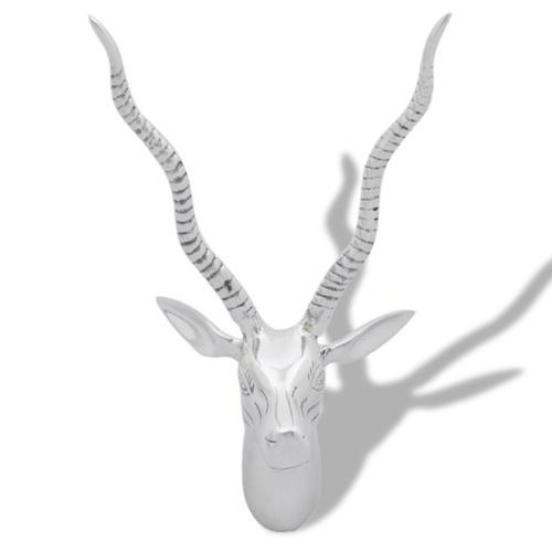 Decorazione della parete in forma di alluminio d'argento di cervo testa 36 cm