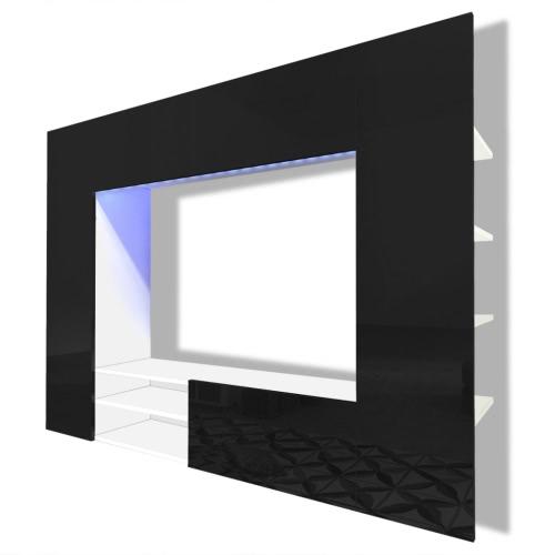 Unité murale de 169,2 cm en noir brillant pour TV LED