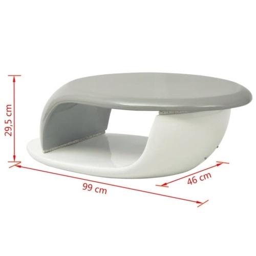 Couchtisch mit LED-Streifen Fiberglas Weiß und Grau