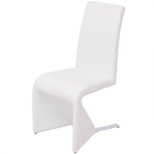 Консольные обеденные стулья 2 шт. Белая искусственная кожа