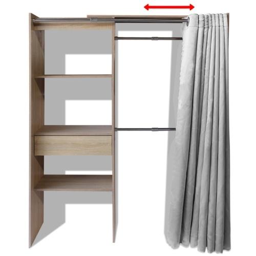 Kleiderschrank mit Vorhang in der Breite einstellbar 121-168 cm Eiche