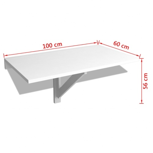 Folding wall table 100 x 60 cm White