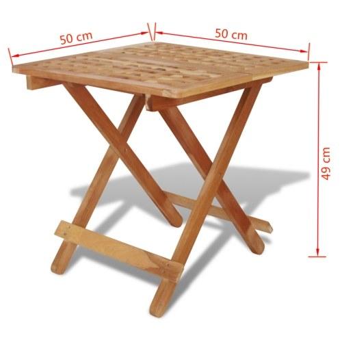 folding side table 50 x 50 x 49 cm solid walnut wood