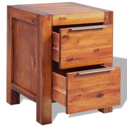 bedside cabinet solid acacia wood brown 45 x 42 x 58 cm