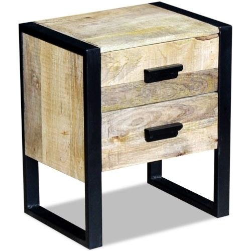 Hilfstisch mit 2 Schubladen 43 x 33 x 51 cm Solides Mangoholz