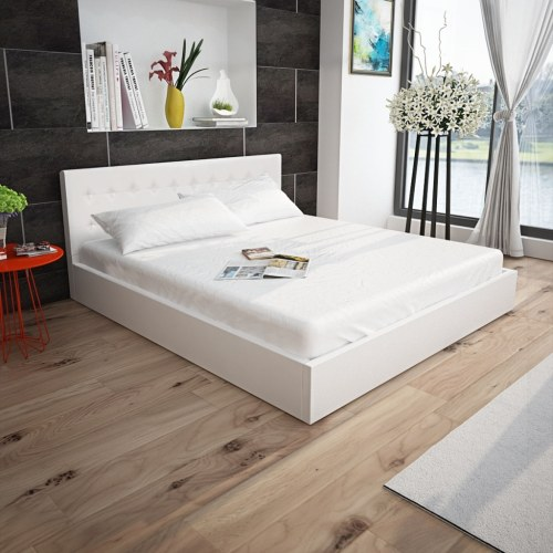 bed frame with gas lift synthetic leather 160 x 200 cm white