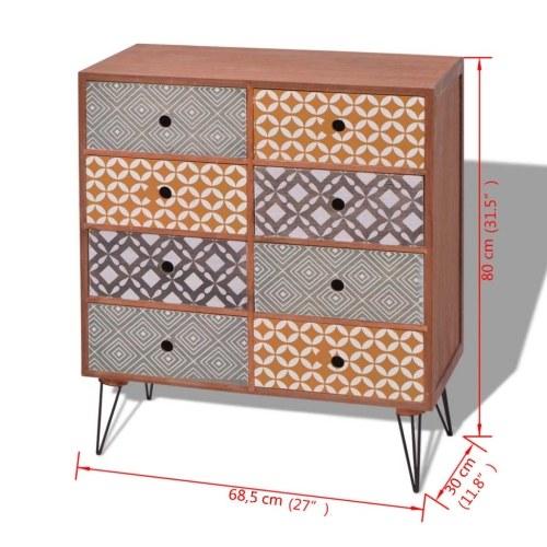 Шкаф для хранения с 8 ящиками коричневый