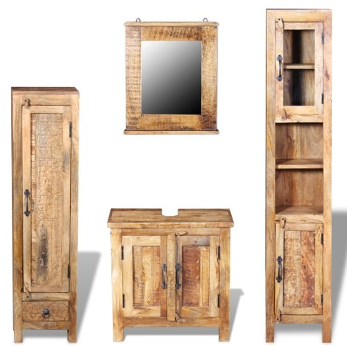 toilet cabinet + mirror and 2 side cabinets mango wood