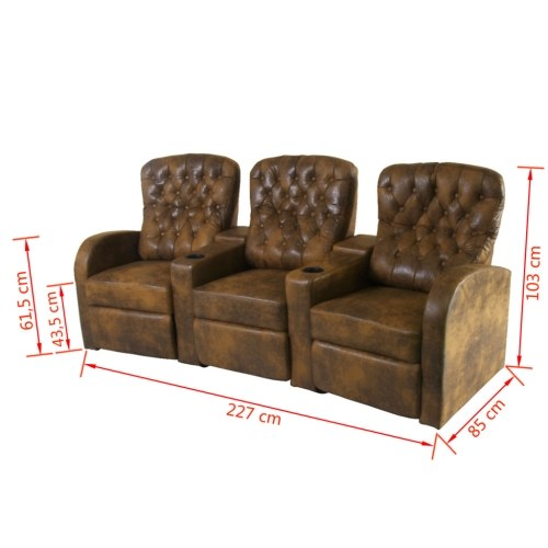 brown 3-seater synthetic leather recliner