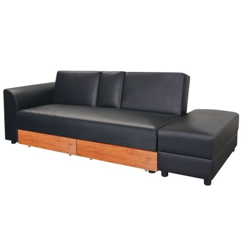 Canapé-lit Cuir artificiel Noir design polyvalent