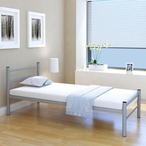 Кровать Рамка Металл Серый 90x200 см