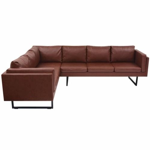 Canapé d'angle en cuir artificiel, style industriel