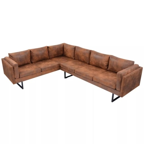 Canapé d'angle Tissu Marron style industriel