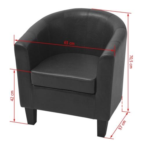 Искусственная кожаное кресло черное