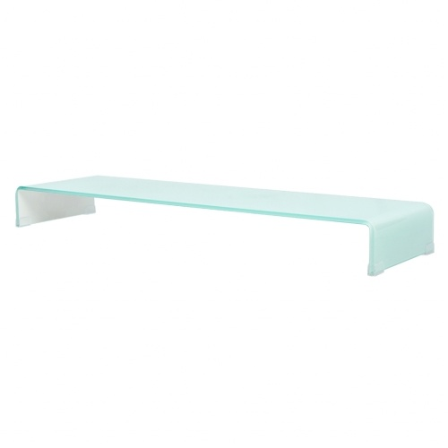 tv stand / monitor stand 120 x 30 x 13 cm white glass