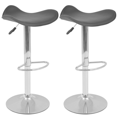 Tabouret pivotant de bar 2 pcs cuir artificiel noir for Tabouret bar pivotant