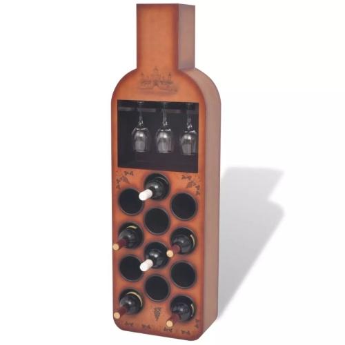 Casier à 12 bouteilles en forme de bouteille Marron