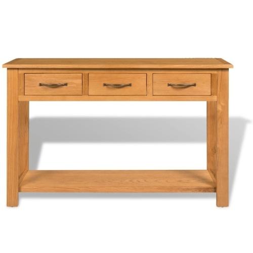 Large solid oak console table 118 x 35 x 77 cm