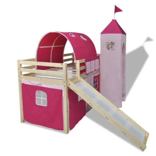 Children's loft bed with slide and Rosewood ladder