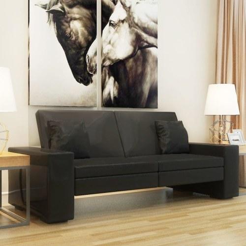 Черный кожаный диван-кровать