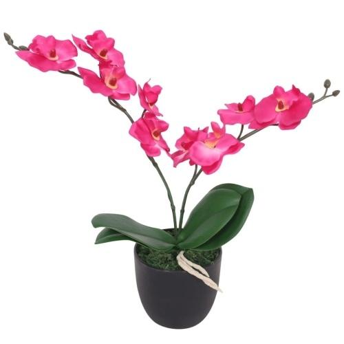 Искусственное растение с горшком для орхидей 30 см. Красный