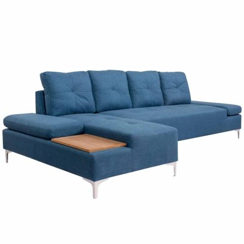 Canapé d'angle avec plateau en bois Tissu - Bleu