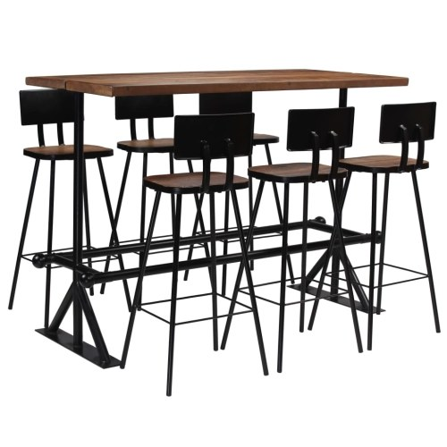 Festnight Bar Furniture Set Table and Chairs 7pcs of Industrial Style Solid Salvage Wood