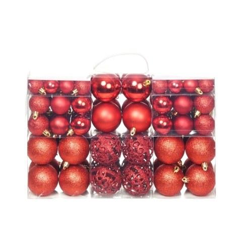 Ensemble de boules de Noël 100 pcs 6 cm Rouge
