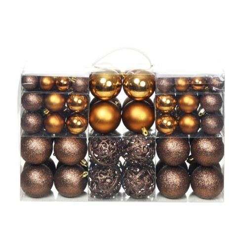 Ensemble de boules de Noël 100 pcs 6 cm Marron/Bronze/Doré