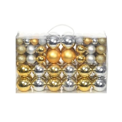 Ensemble de boules de Noël 100 pcs 6 cm Argenté/Doré