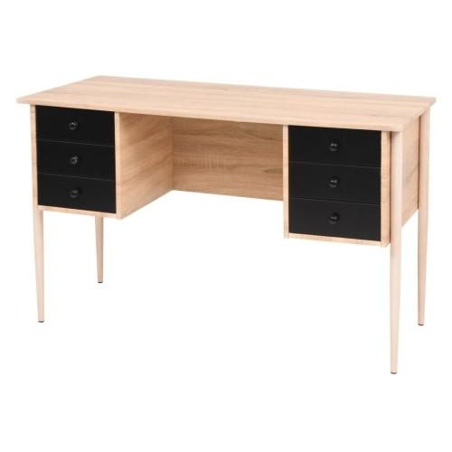 Bureau à tiroirs Aggloméré Chêne et Noir