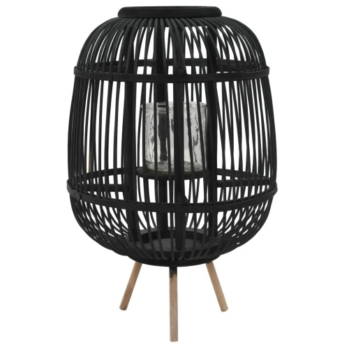 Porte bougie et bougeoir en bambou Noir