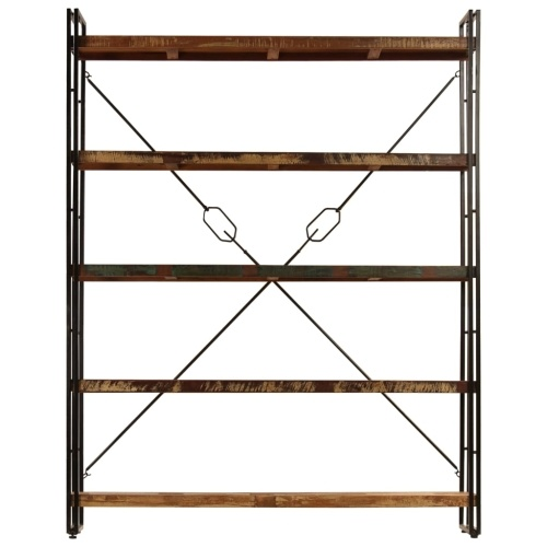 Festnight Industrial Style Bookcase Storage Cabinet 5 Levels 180x30x140cm Solid Wood Recovery