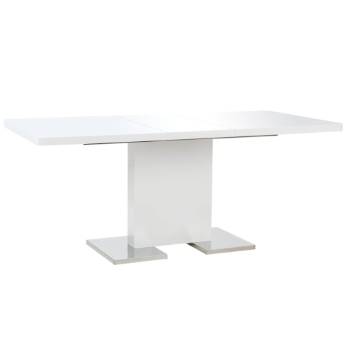 Festnight Dining Table Extensible Dining Table White Gloss 180x90x76 cm MDF