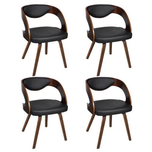 Ensemble de 4 chaises à accoudoirs Brun