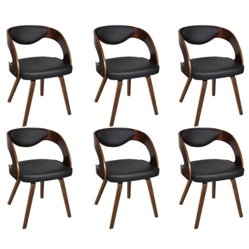 Ensemble de 6 chaises à accoudoirs Brun