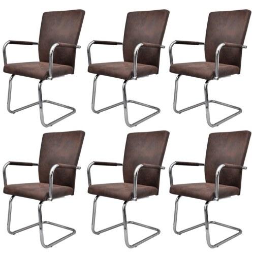 Lot de 6 fauteuils de Salle à manger marron