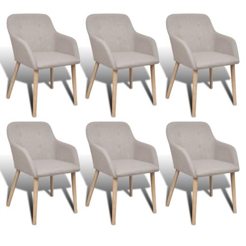 Lot de 6 chaises gondole en chêne et tissu beige