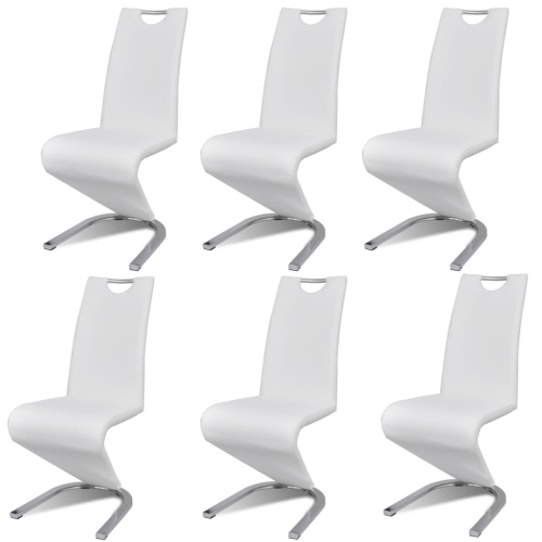 Lot 6 chaises contemporaines en simili cuir Blanc