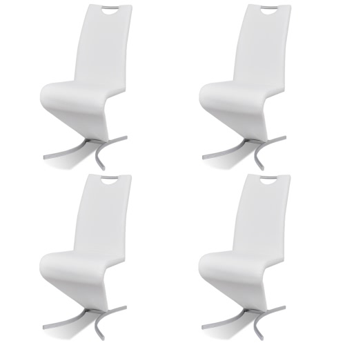 Lot 4 chaises en simili cuir Blanc