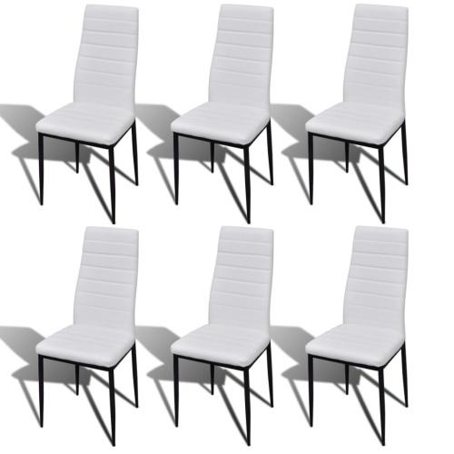 Lot de 6 chaises blanches en cuir synthétique
