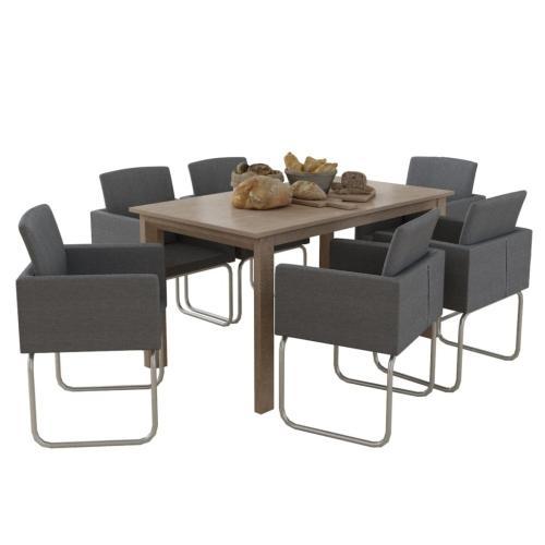 Chaise avec accoudoirs gris foncé 6 pièces
