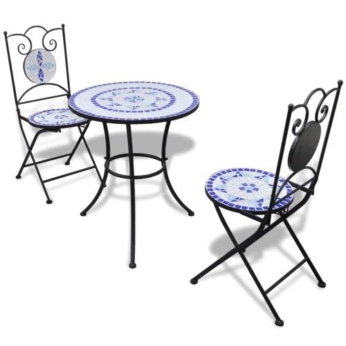 Ensemble de bistro mosaïque cuite bleu et blanc