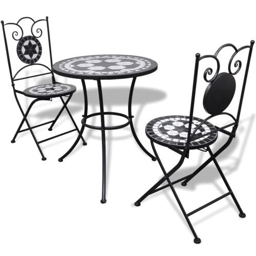 Ensemble de bistro mosaïque cuite noir et blanc