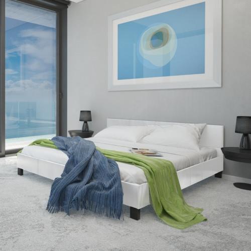 weißen Bett Kunstleder 140 cm mit Memory-Matratze
