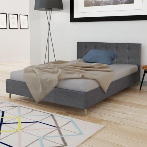 деревянная кровать с темно-серой ткани 200 х 140 см + матрас памяти