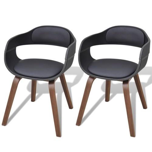 Chaises en bois cintré avec revêtement en cuir artificiel