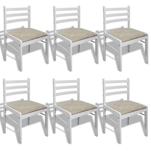 Ensemble de 6 chaises de salle à manger en bois Blanc