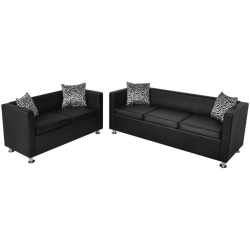 Canapé 3 et 2 places en cuir artificiel noir