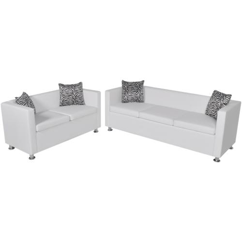 Canapé 3 et 2 places en cuir artificiel blanc